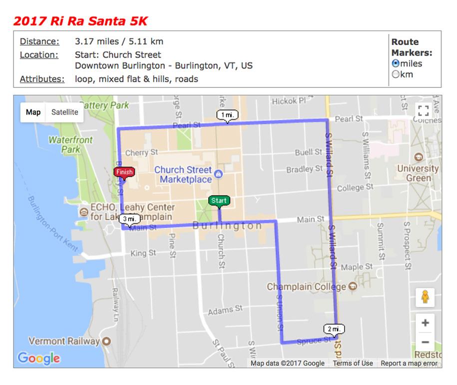 2017 R Ra Santa 5K course map