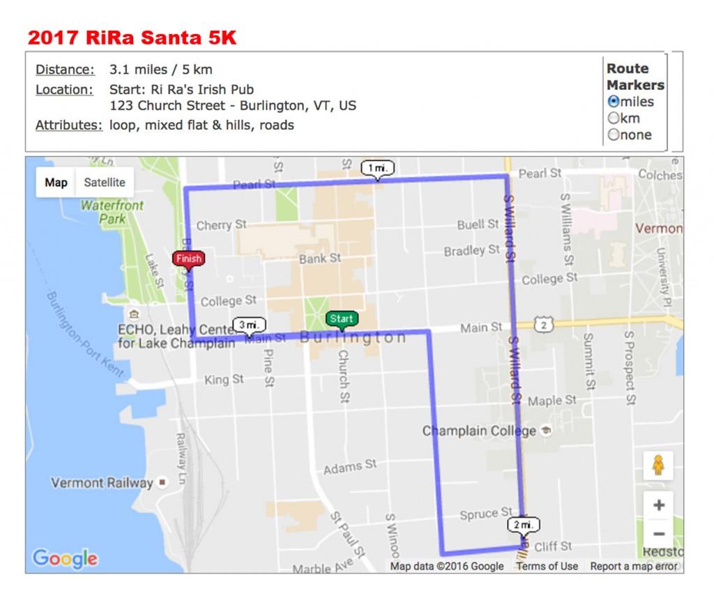 2017 Santa 5K course map