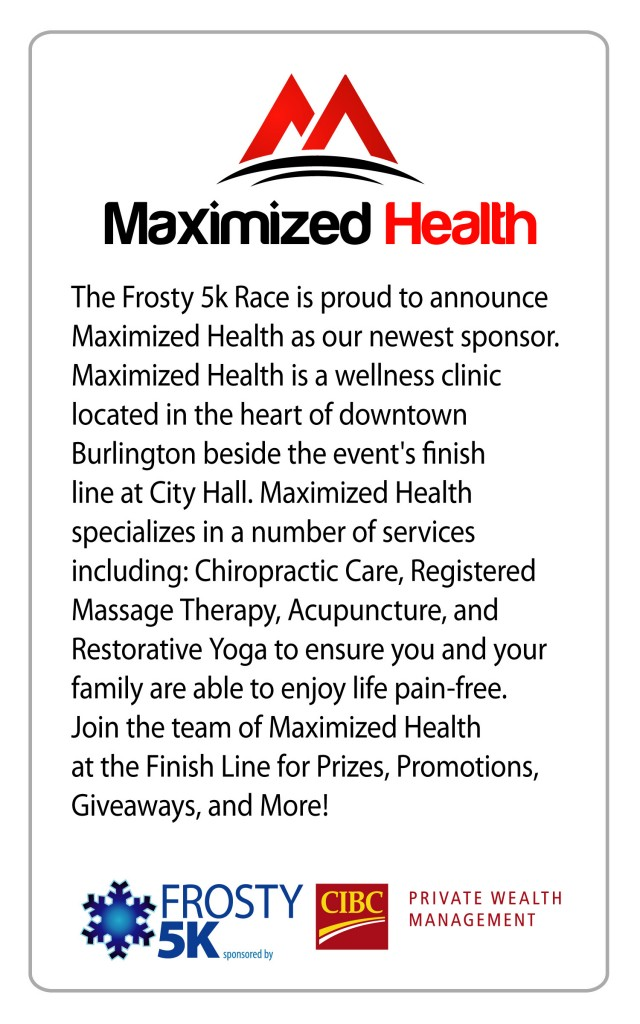 2018 Frosty 5K Maximized Health sponsorship
