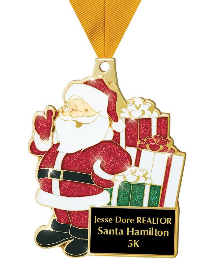 Santa Hamilton 5K medal
